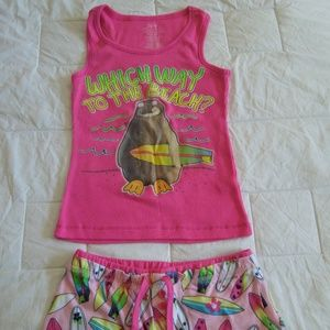 girls pj short set size 6/7
